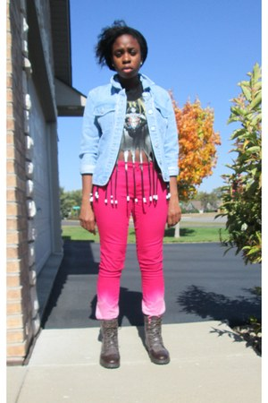 black unknown top - black Pink Duchess boots - hot pink Love Potion jeans