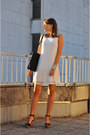 White-promod-dress-black-no-name-bag-black-zara-wedges