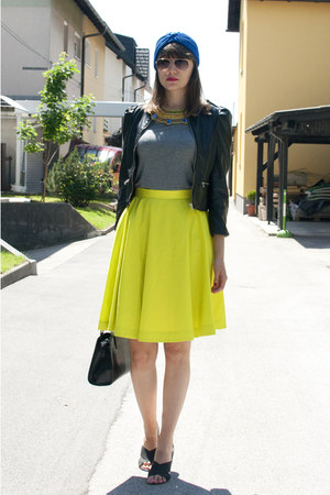 yellow COS skirt - blue asos hat - black H&M jacket - charcoal gray H&M top