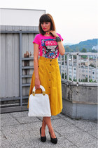 mustard vintage skirt - white asos bag - hot pink H&M t-shirt