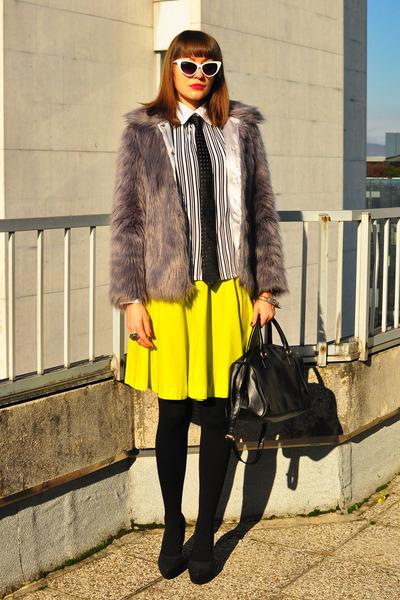 black H&M bag - light purple asos jacket - white no name shirt
