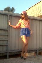 orange H&M scarf - blue H&M pants - black Funky Shoes shoes - green asos accesso