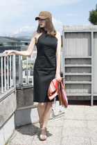 white Topshop bag - black French Connection dress - olive green from vietnam hat