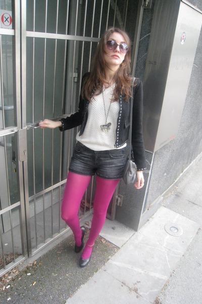 beige vintage top - gray Zara shorts - pink Topshop tights - black Bershka jacke