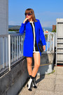White-asos-boots-black-dorothy-perkins-dress-blue-asos-coat