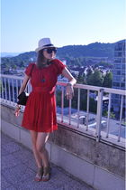 red Miss Selfridge dress - white no name hat - brown no name shoes