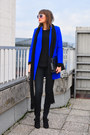 Black-funky-shoes-boots-blue-asos-coat-black-h-m-sweater-black-h-m-scarf