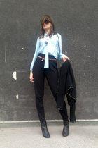 black no name pants - blue vintage blouse - black Bershka jacket - brown Stradiv