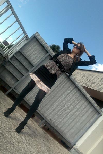 gray no name tights - black Promod dress - beige H&M skirt - black Miss Selfridg