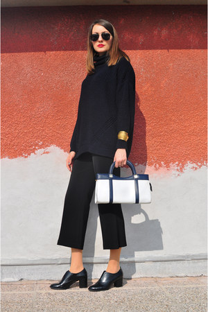 black asos shoes - navy Wallis sweater - white vintage bag