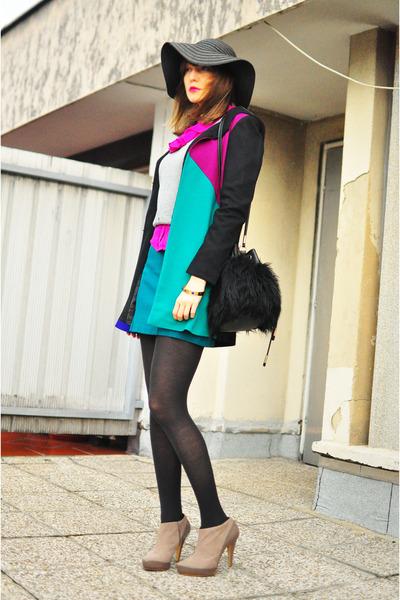 black romwe coat - black no name hat - heather gray H&M sweater