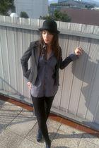 gray Zara shirt - black H&M jacket - black no name tights - blue Funky Shoes sho