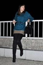 teal homemade sweater - black asos boots - olive green H&M skirt - black asos be