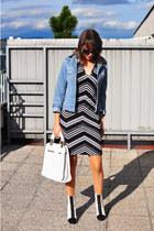 white asos bag - white asos boots - black no name dress