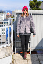 heather gray H&M sweater - hot pink Alice Hannah hat - light purple asos jacket