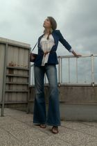 blue Zara blazer - white Zara blouse - blue topshop jeans - brown vintage from E