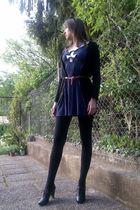 blue Miss Selfridge dress - black H&M cardigan - black H&M shoes - brown Stradiv