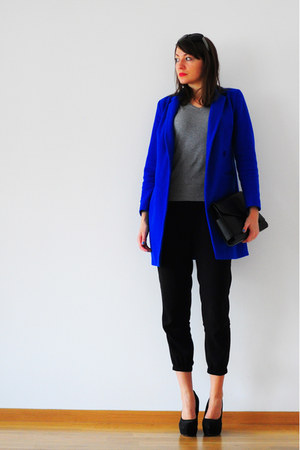 black OASAP bag - blue asos coat - heather gray no name sweater