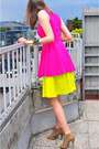Hot-pink-zara-dress-yellow-cos-skirt-camel-asos-heels