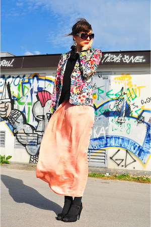 light pink Zara skirt - hot pink Zara blazer - black vintage blouse