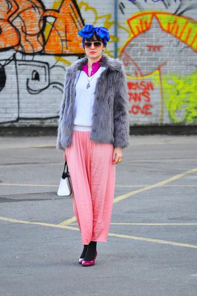 white vintage sweater - light purple faux fur asos jacket - blue vintage scarf