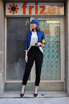 blue turban asos hat - blue H&M jacket - yellow no name bag - black no name heel