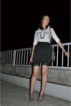 white Zara shirt - black H&M skirt - black H&M leggings