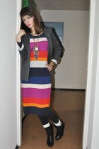 magenta H&M dress - charcoal gray Zara blazer - black New Yorker boots