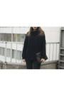 White-asos-boots-black-vintage-coat-navy-wallis-sweater-black-oasap-bag