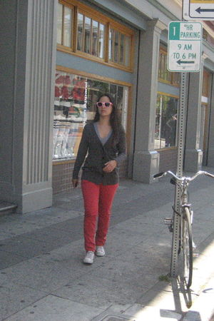 red BDG pants - gray banana republic cardigan - silver American Apparel - pink R
