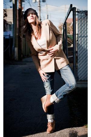 beige second hand blazer - blue Zara jeans - beige Zara boots - white Old Navy t
