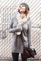 gray H&M sweater - white second hand scarf - brown Zara bag - gray le chateau ha