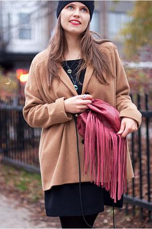 black polyester Birds of North America dress - tan wool Dace coat