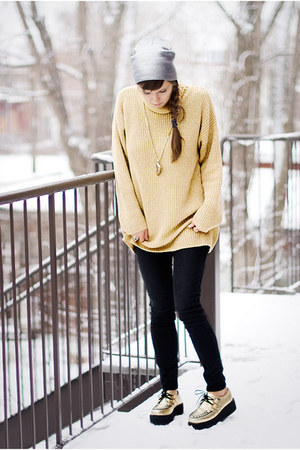 gold golden thread second hand sweater