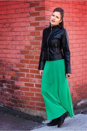 black leather Nine West boots - black pleather thrift jacket