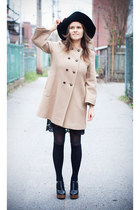 camel Zara coat - black Simons hat - black second hand skirt - black second hand