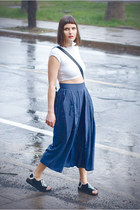 navy silk vintage skirt