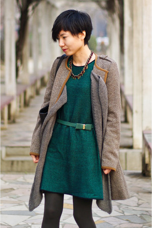 tan Zara coat - teal COS dress - teal Zara belt