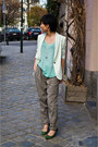 Lime-green-zara-blazer-heather-gray-zara-pants