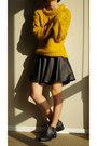 Black-zara-boots-yellow-sweater-black-skirt