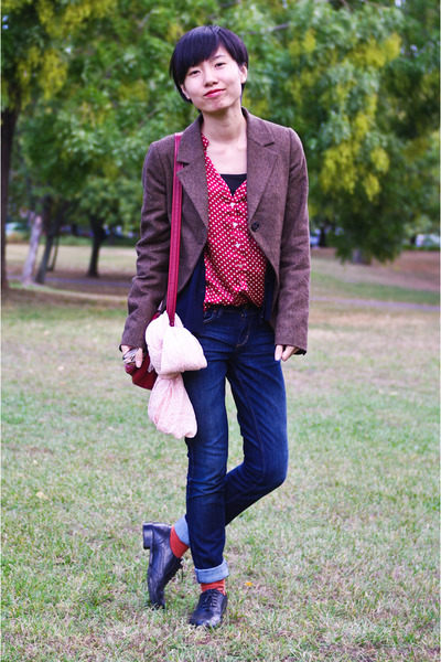 brown united colors of benetton blazer - ruby red dotted Zara blouse