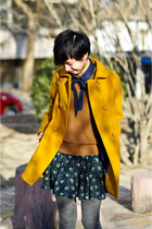 mustard Zara coat - brown cashmere Zara sweater - navy COS tie