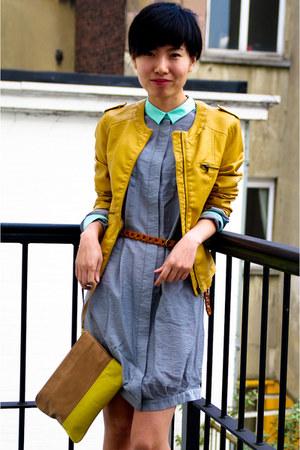 heather gray shirt COS dress - yellow Massimo Dutti purse