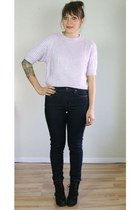 violet cropped ribbed vintage sweater