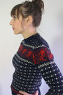 Navy-fitted-acrylic-vintage-sweater