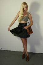 black skirt - brown purse - brown shoes