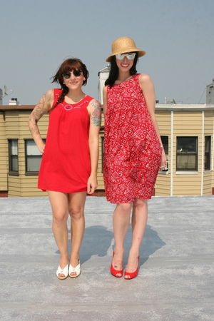 red nautical sailor dress - red dress