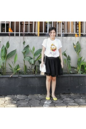 black skirt - white bag - light yellow flats - white t-shirt