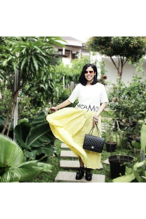 black shoes - black bag - dark brown Payless sunglasses - light yellow skirt