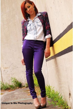 magenta Urban Outfitters blazer - white PacSun blouse - deep purple H&M pants -